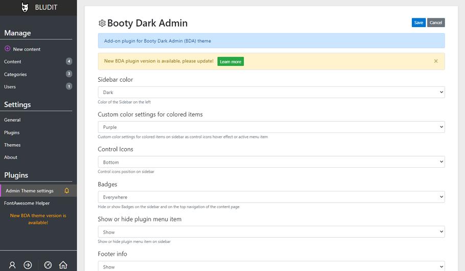 Booty Dark Admin (plugin)